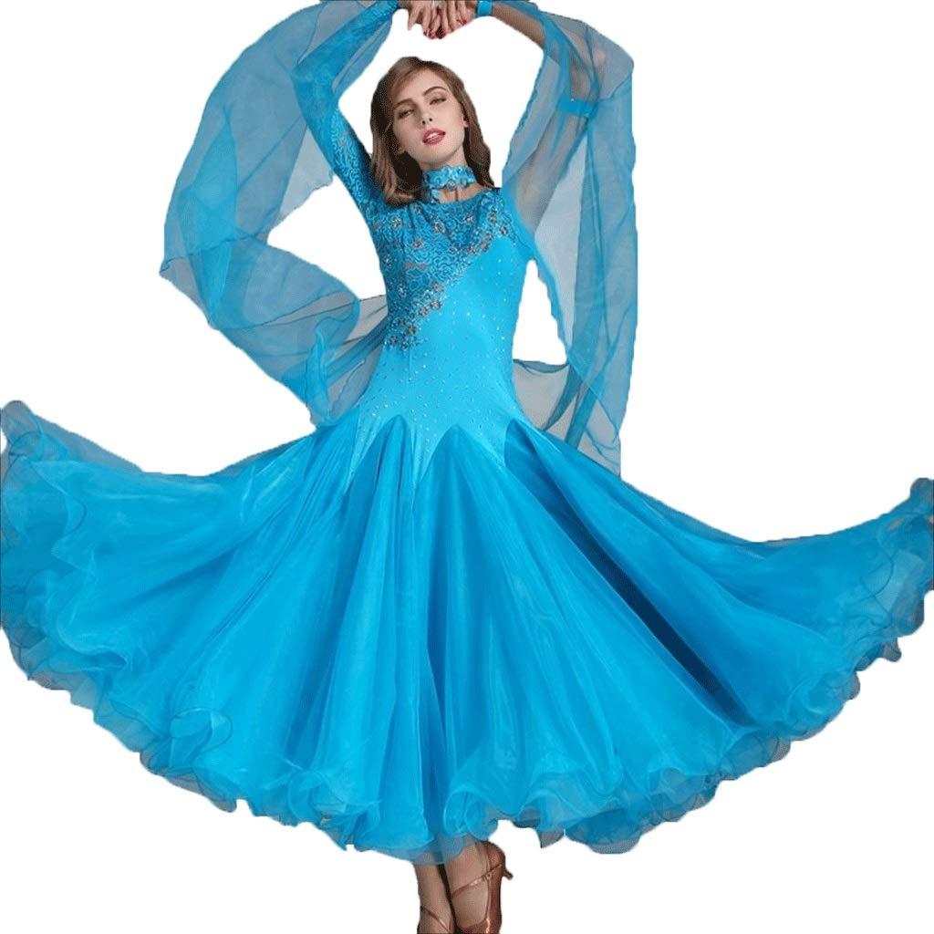 【期間限定特価】 女性用のダンスドレスワルツパフォーマンス民族衣装レースの袖の競争社交ドレスシリーズダンスドレス B07QM6CWFW XL|ブルー XL|ブルー ブルー ブルー XL XL, フナオチョウ:8d39a7de --- a0267596.xsph.ru