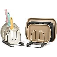 (7+ Pan Organiser (18cm W)) - 7+ Pans Expandable Pan and Pot Organiser Rack: 2 Racks or 1 Expandable Rack (up to 60cm…