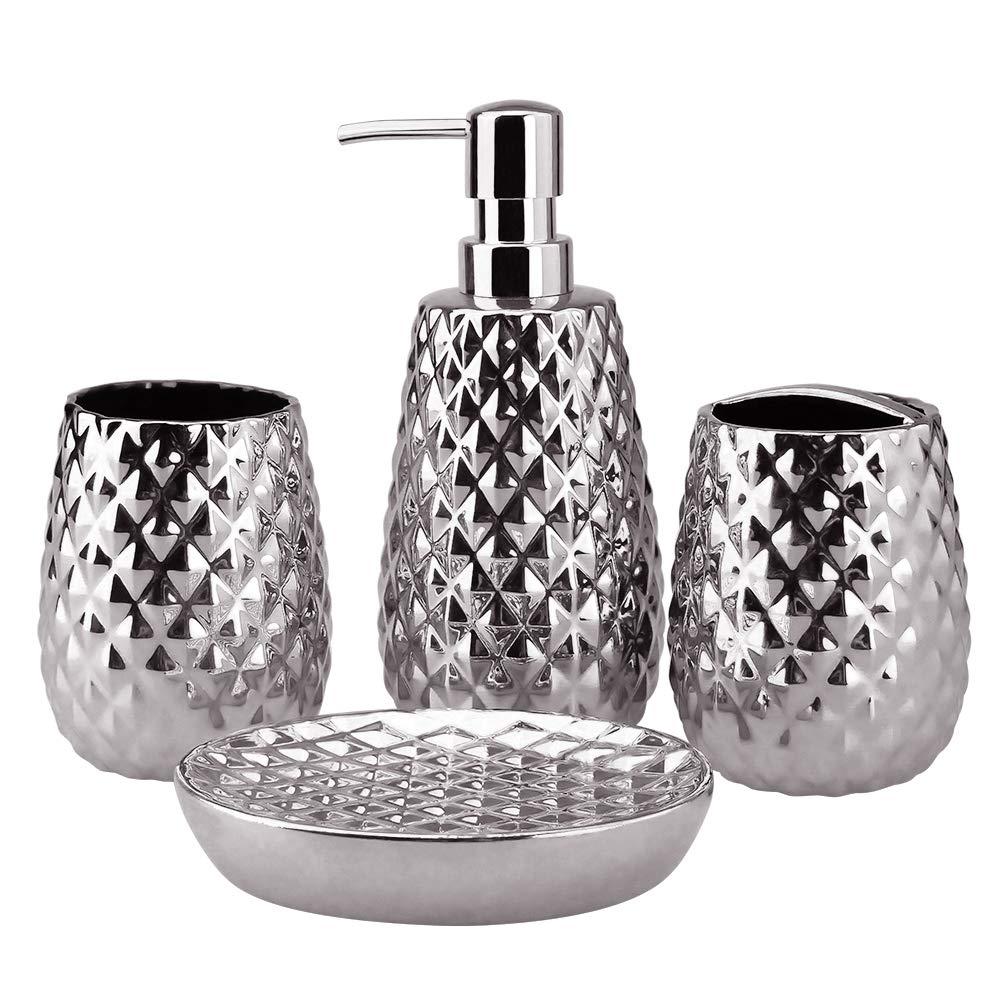 Tumbler Ideas Home Gift 4-Piece Ceramic Bathroom Accessories Set Soap Dish Moroccan Trellis Bathroom Ensemble Complete Sets for Bath Decor Includes Soap Dispenser Pump Toothbrush Holder Silver