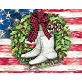 LANG - ''Patriotic Skates'', Boxed Christmas Cards, Artwork by Susan Winget'' - 18 Cards, 19 envelopes - 5.375'' x 6.875''