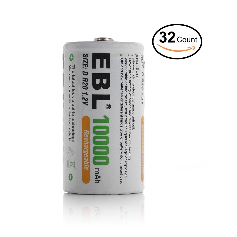 EBL 32 Packs Ni-MH 10000mAh D Rechargeable Batteries by EBL