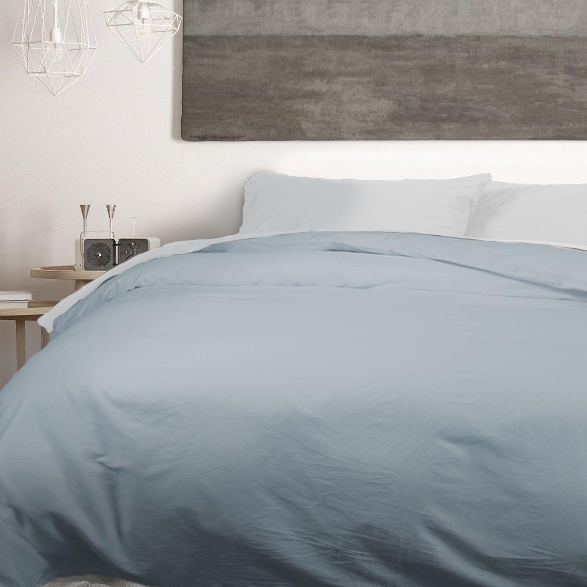 QE Home- 500TC Cotton Sateen 1pc Duvet Cover - Cool Blue | King