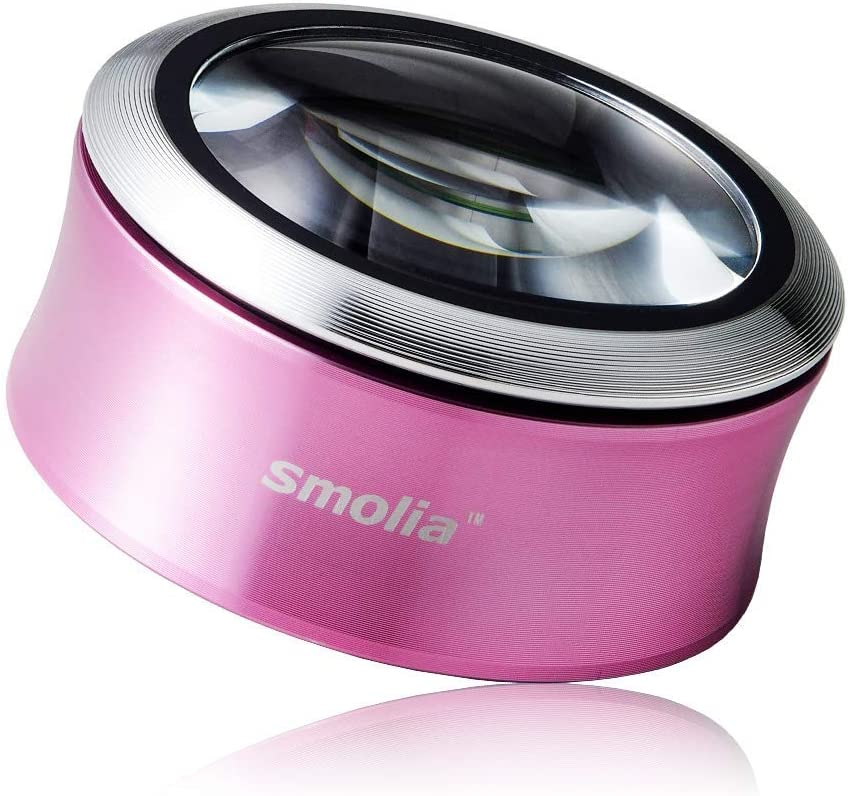 Smolia XC 3X LED Lighted Magnifying Glass Dome Magnifier Hands-Free USB Rechargeable - Pink