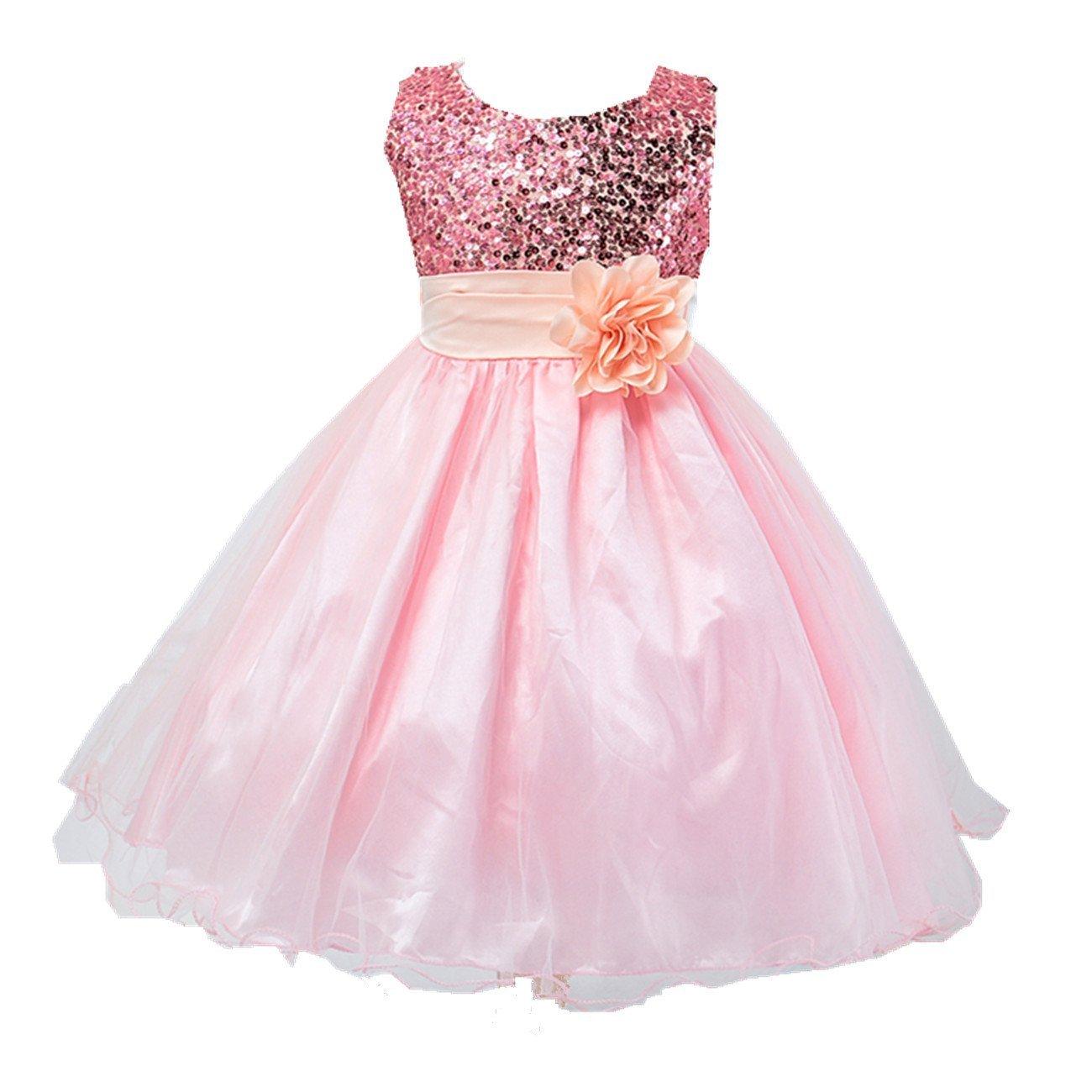 Star Flower Girls Sequin Mesh Party Wedding Princess Tulle Ruffle Dress