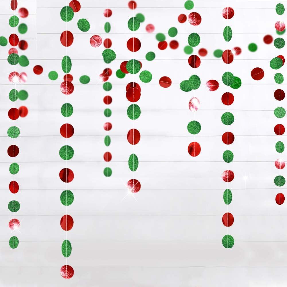 Weihnachtsbaum-Girlanden f/ür Silvester // Geburtstag Banner H/ängedekoration Flagge Luftschlangen Glitzergirlande mit gr/ünen und roten Kreispunkten f/ür Weihnachten Hochzeit Party