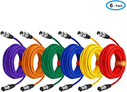 "8 Pk of Multi-Color 6 Foot XLR Female to 1//4/"" TRS Patch Cables Balanced PA//DJ"