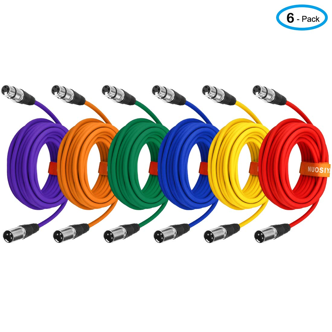 NUOSIYA Colored Microphone Patch Cable 25 feet, XLR Male to Female mic Cables(6-Pack), 3 pin Double Shielded Balanced DMX Cables/XLR Cables.