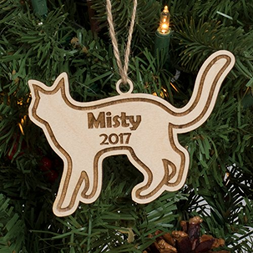 Personalized Pet Christmas Ornament Engraved Wood - Kitty Cat