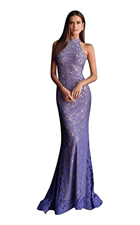 7a188feb2710 Jovani 63335 Embellished Lace High Halter Trumpet Dress in Ink. Roll over  image to zoom in