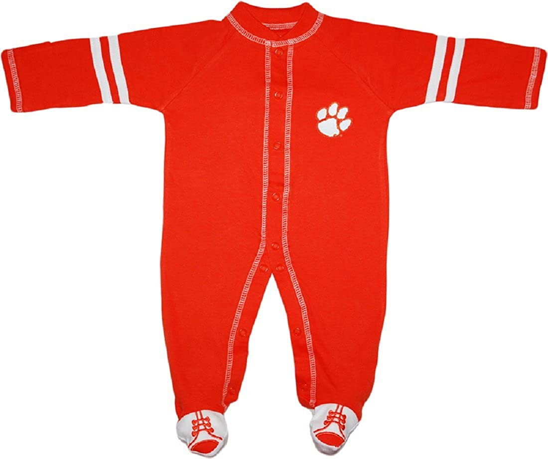 Clemson University Tigers Sports Shoe Footed Baby Romper
