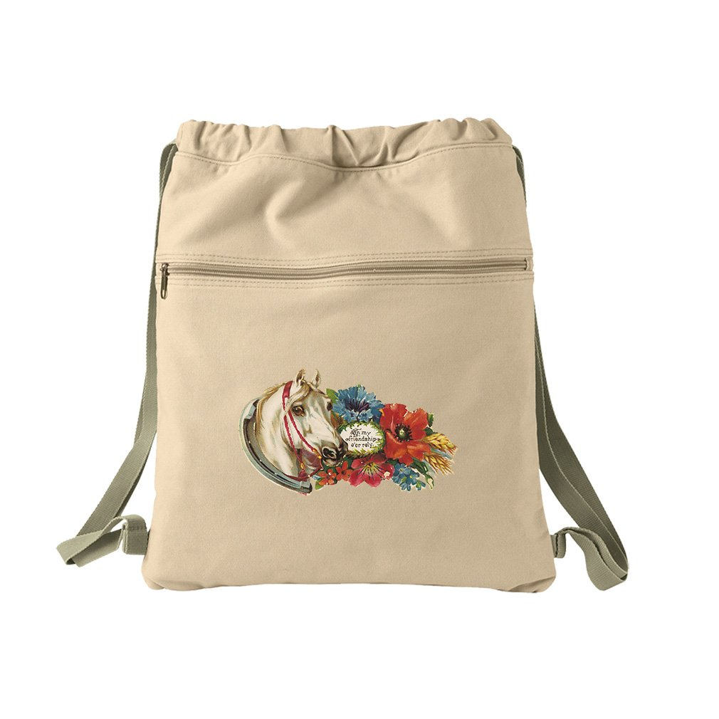 Horse In Flowers With A Picture Animals Canvas Dyed Sack Backpack Bag