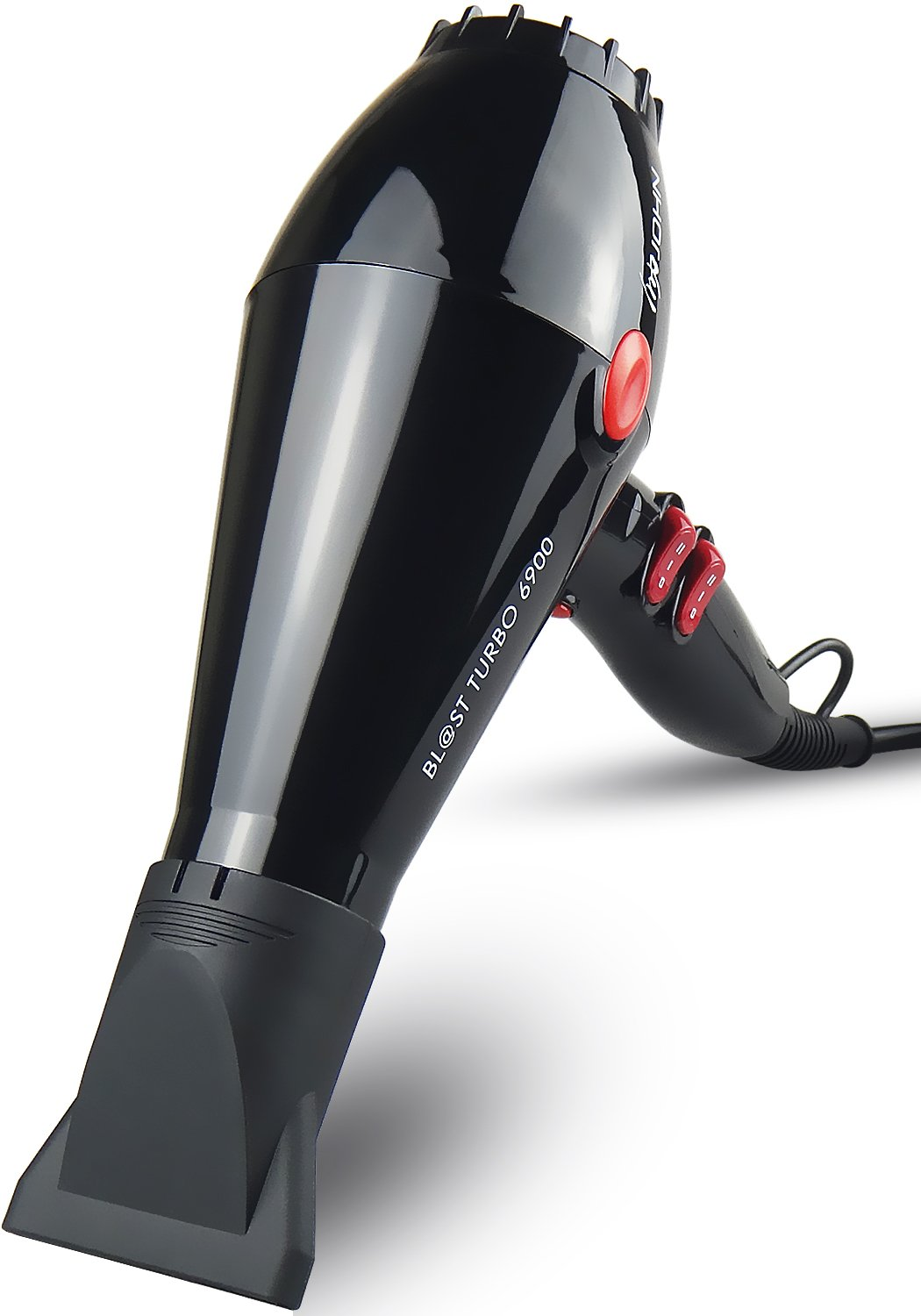 JOHN Blast 6900 Tourmaline Ceramic Ionic Professional Hair Dryer 2200W Powerful Fast Drying Blow Dryer 9Ft Cable AC Motor with 2 Nozzles for Salon Styling Glossy Black