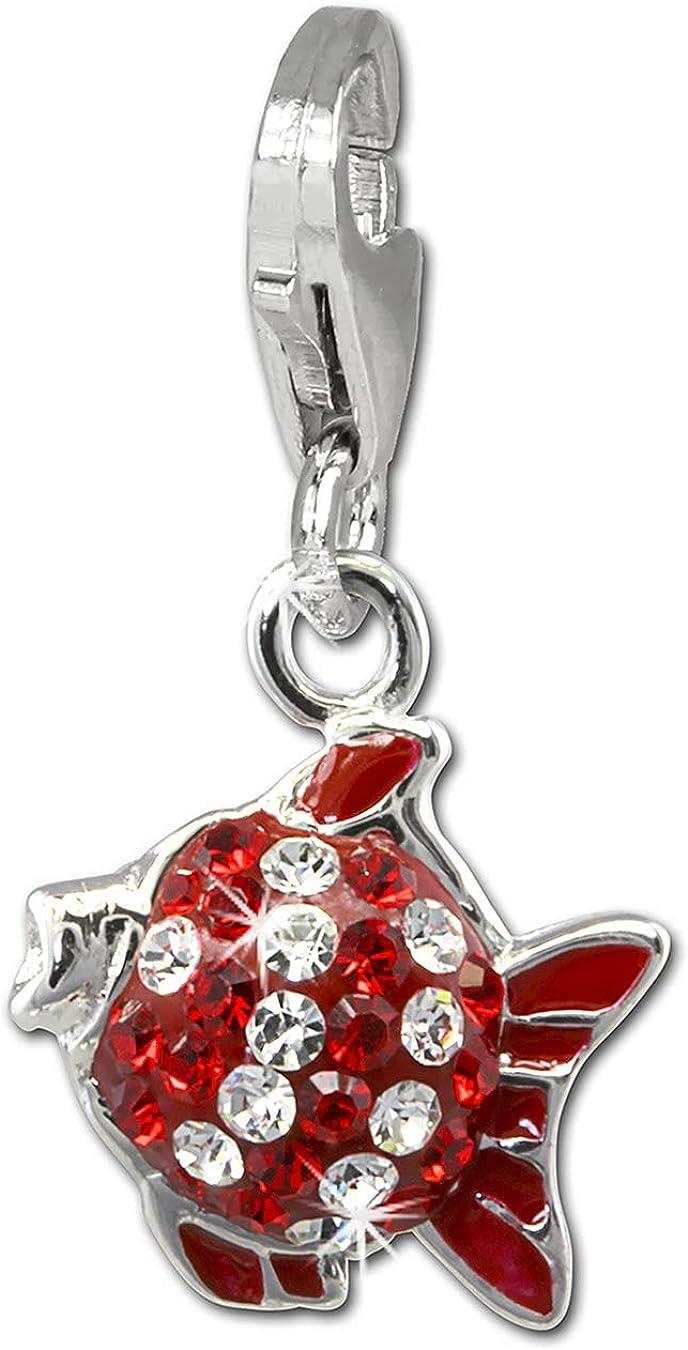 SilberDream Charms paillettes 3D poisson rouge//blanc pour bracelets /à breloques pendentif en argent 925/avec cristaux en Zirconium Cha/îne Boucle dOreille gsc564r