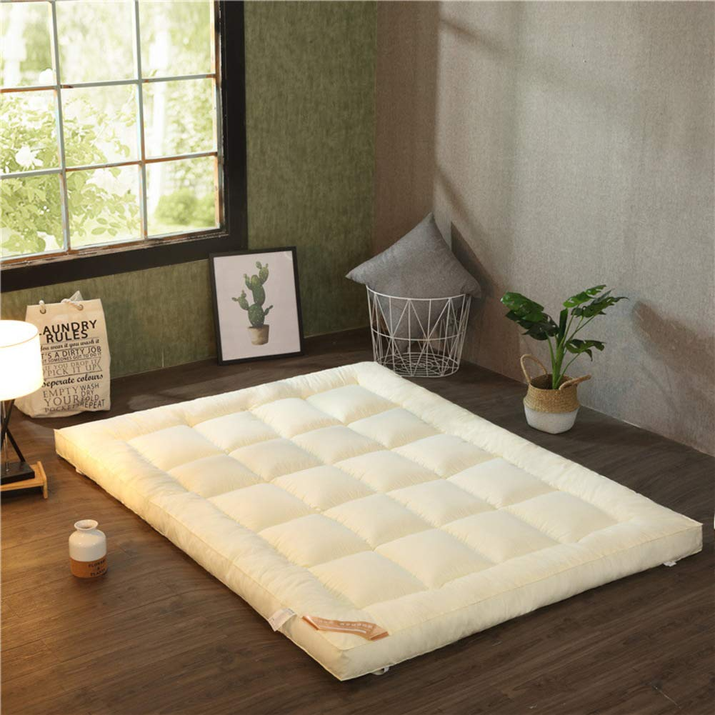 Beige 120x200cm(47x79inch) Fluffy Sleep Mattress, Bed Mattress Topper, Soft Comfortable Double Thick Tatami Floor mat Japanese futon mat Roll up Bed pad-Green 135x200cm(53x79inch)