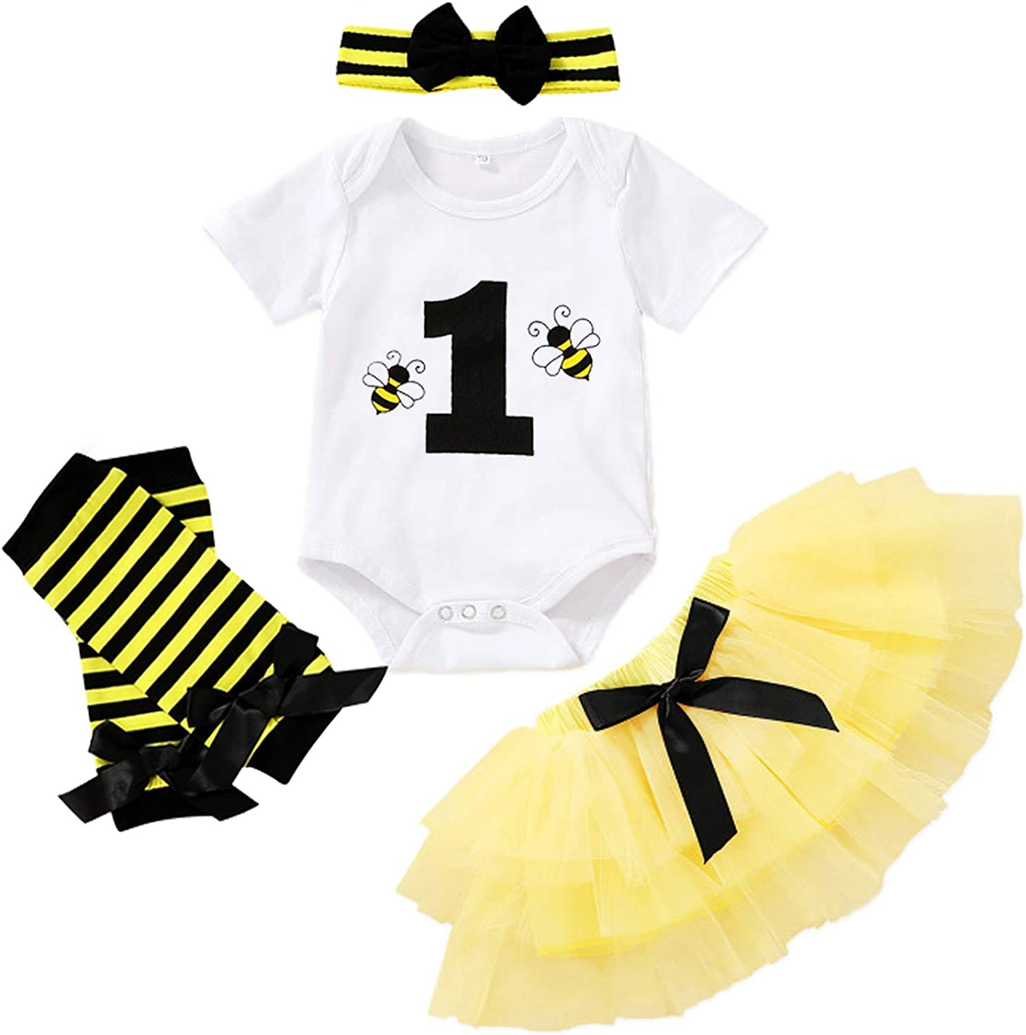 Baby Girl Birthday Cake Smash Outfit Toddler Girl My 1st Birthday Romper Tutu Skirt with Headband Clothes Set