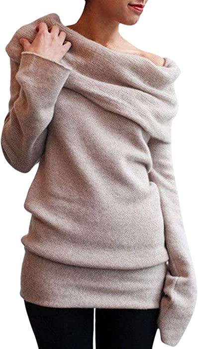 cdb1cd0e9c5d Pink Queen Women s Off-Shoulder Bottoming Shirt Pullover Knit Sweater Khaki  S