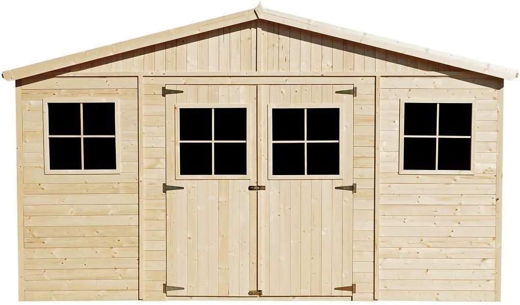 TIMBELA M331 Caseta de jardín de madera para exterior - Caseta de pino / abeto, construcción de paneles - H246 x 418 x 320 cm / 12 m2: Amazon.es: Jardín