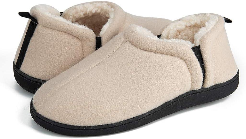 Unisex Cozy Plush Anti-Slip Memory Foam Slipon House Slippers Flat Indoor Shoes