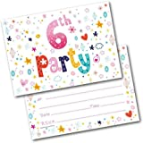 6th Birthday Party Invitations Age 6 Female Girls Childrens Pack Of 20 Invites