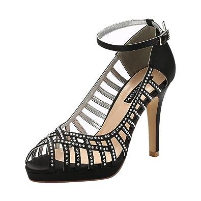92f5178308e3 ERIJUNOR E1829A Women High Heel Platform Strappy Rhinestones Satin Evening  Party Wedding Shoes Black Size 4