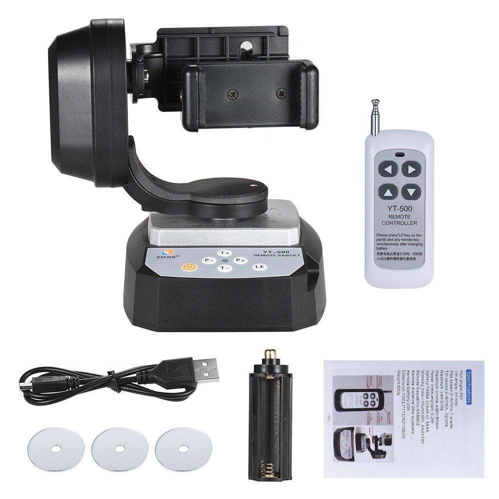 Andoer Zifon yt-500 mando a distancia Carga 500 G para iphone 7//7 Plus//6//6 Plus//6S smartphone funci/ón de giro e inclinaci/ón motorizado autom/ático rotaci/ón de v/ídeo cabeza de tr/ípode Max