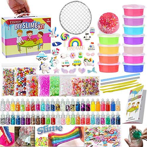 ESSENSON Slime Kit - Slime Supplies Make Your Own Slime, Slime Making Kit for Kids, Includes Crystal Slime, Glitter Sheet Jars, Animals Beads, Foam Balls, Fruit Slices, Fishbowl Beads, Sugar Paper