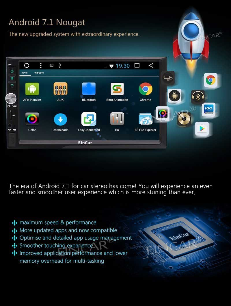EINCAR 2018 Android 7.1 OS Car Electronics in Dash Double 2 Din GPS Navigation Head Unit Support Dual Cam-in WiFi 3G//4G Dongle Optional OBD2 1080p Video in /& Out with Free Backup Camera EinCar Direct zBR.AN8033GNN+YCAM2