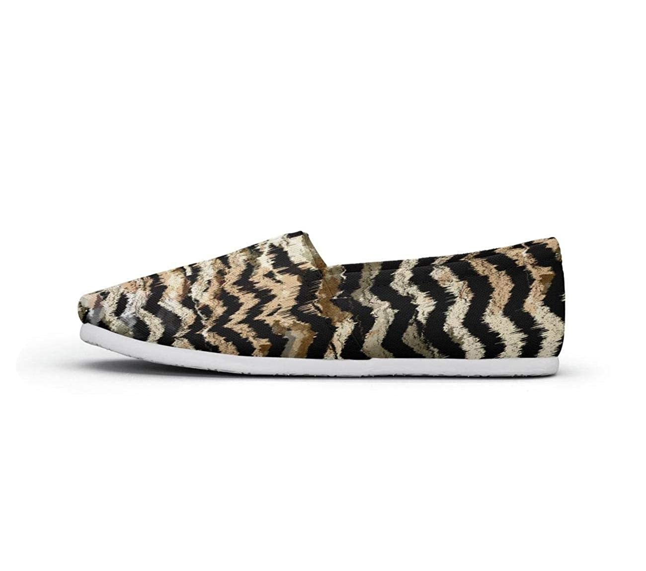 Fabric Striped Leopard Flower Background Beautiful Women Loafer Shoes for Womens Customize Shock Absorption