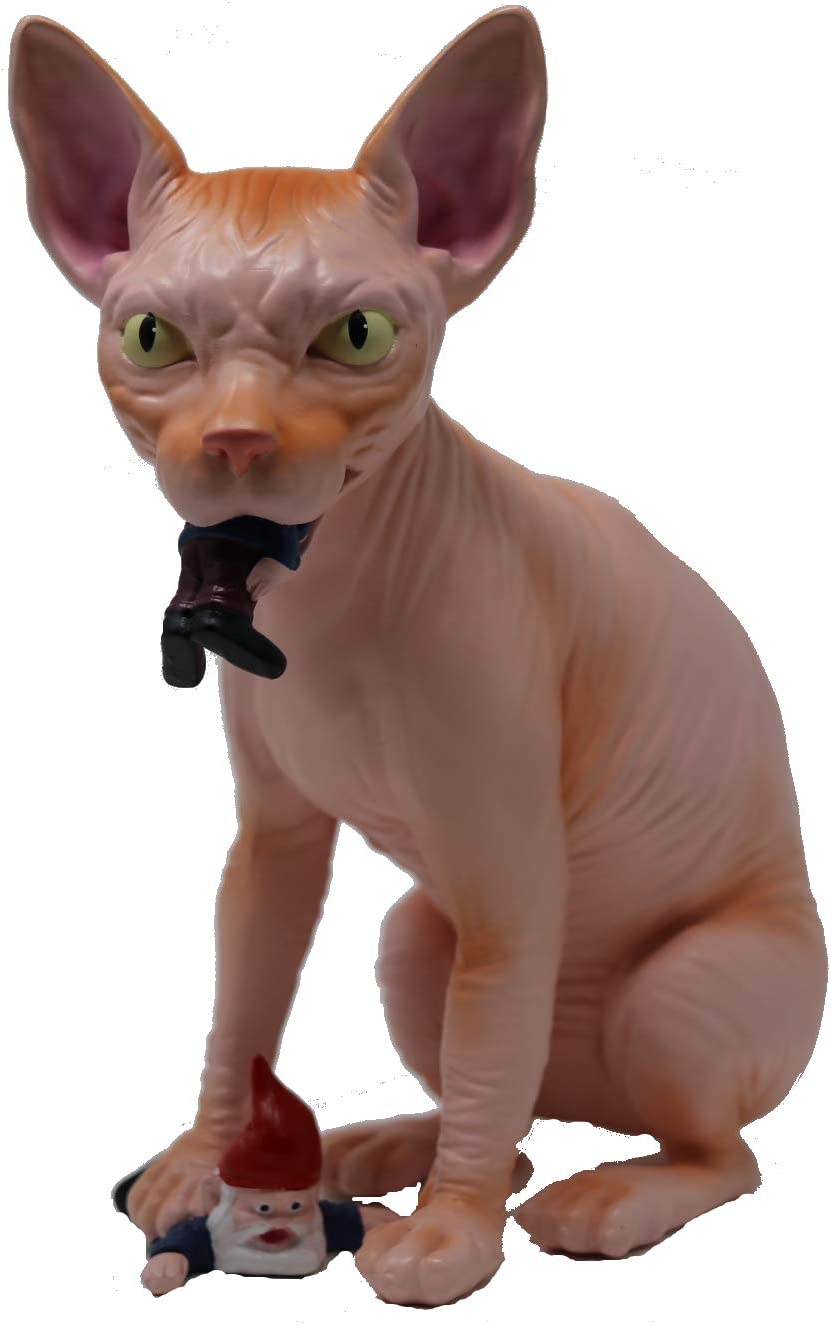 """Mischievous Wicked Sphynx Hairless Cat Garden Gnome Massacre - Great Gardening Statue Figurine Decoration - Funny Unique Gnomes Lawn Ornament Figure Sculpture for Indoor Outdoor Home Decor (Pink) 10"""""""