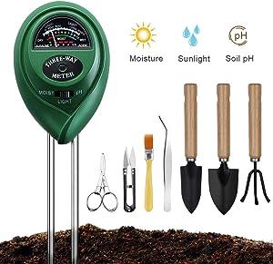 Soil Ph Meter, Soil Moisture Meter Sunlight Tester with Bonsai Tools, 3 in 1 Soil Test Kit for PH/Moisture/Light, for Home and Garden, Lawn, Farm, Indoor & Outdoor Plants Care (No Battery Needed)