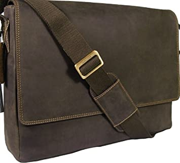 New Visconti brown leather laptop briefcase messenger bag 18516 ...