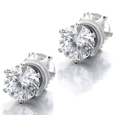8f49248af Amazon.com: 6MM Magnetic Cubic Zirconia Stud Earrings for Men Women, Non-Piercing  Clip On Cheater Fake Ear Plugs: Jewelry