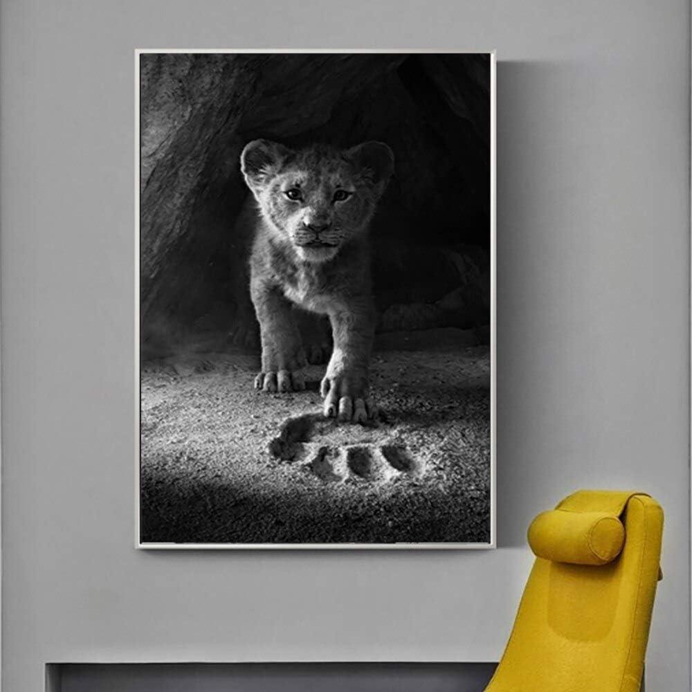 KWzEQ Imprimir en Lienzo Pequeño león para póster de Sala de Estar y decoración de pared30x45cmPintura sin Marco
