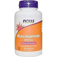 海外直送品Now Foods NIACINAMIDE, 100 Caps 500 mg(Pack of 6)
