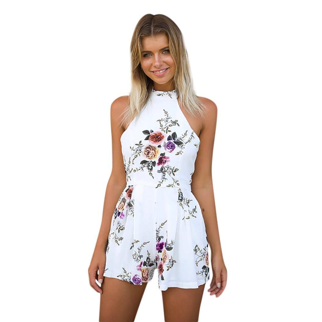 Jumpsuit Damen Sommer LHWY Frauen High Neck Floral Mini Playsuit Vintage Zurück Reißverschluss Jugendliche Sommerkleid Mini Kurz Shorts Einteiliger Overall