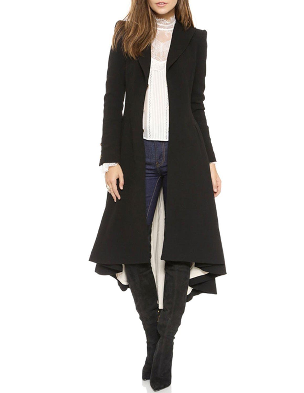 RICHKOKO Women Asymmetrical High Low V Neck Ruffle Button Long Coat (Large, Black)