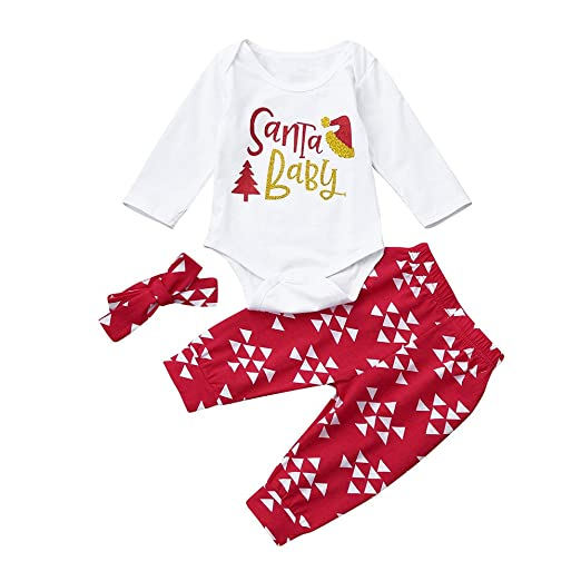 d99f17dd3cb Amazon.com  Santa Baby Newborn Boy Girl Romper+Pants+Headband Christmas  Xmas Outfits Set Clothes  Clothing