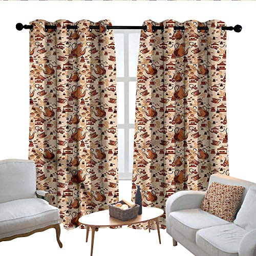 Lewis Coleridge Living Room Curtains Coffee,Grinders and Brewers Design,Adjustable Tie Up Shade Rod Pocket Curtain 52