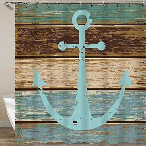 QCWN Hand Painted Ocean Shower Curtains Waves Nautical Anchor and Birds Design Art Prints Waterroof Bathroom Accessories with Free Hooks (2, -