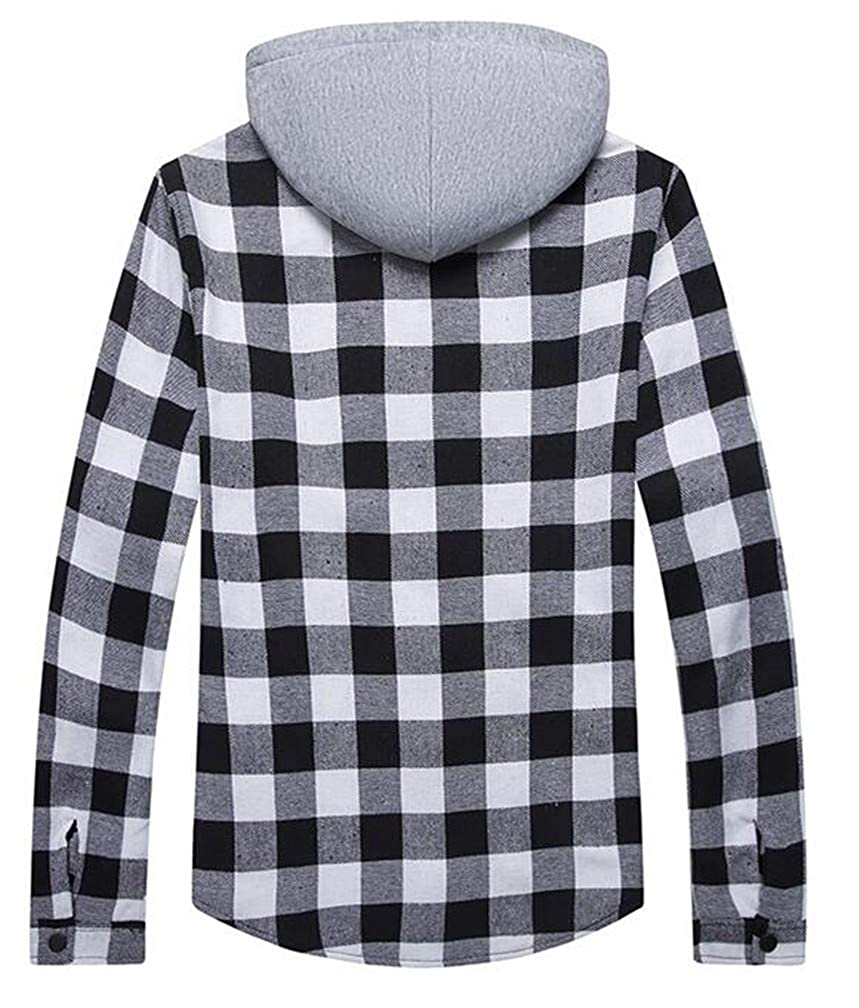 Lutratocro Mens Drawstring Plaid Quilted Pocket Curved Hem Slim Hooded Sweatshirts