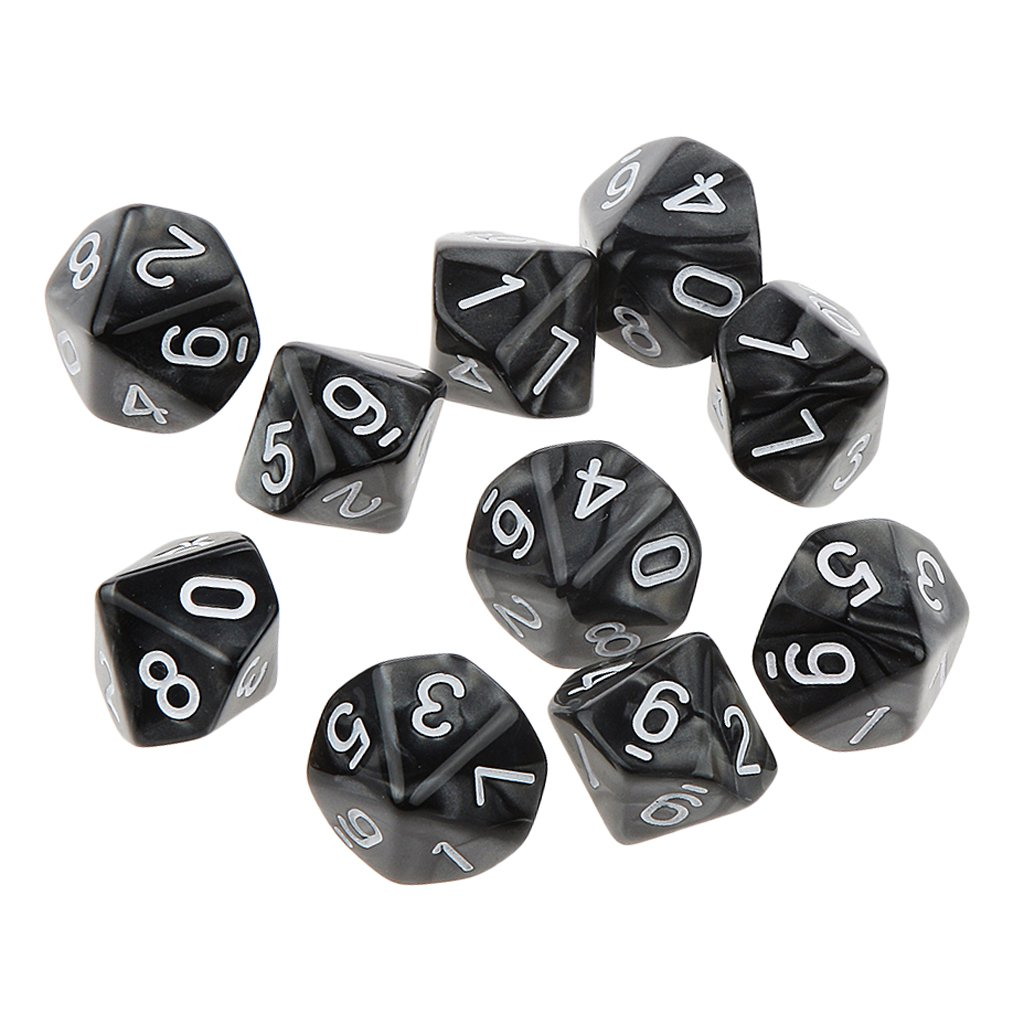 MagiDeal Pack of 10pcs Ten Sided Dice D10 Playing Dungeons /& Dragons D/&D TRPG Board Game Black