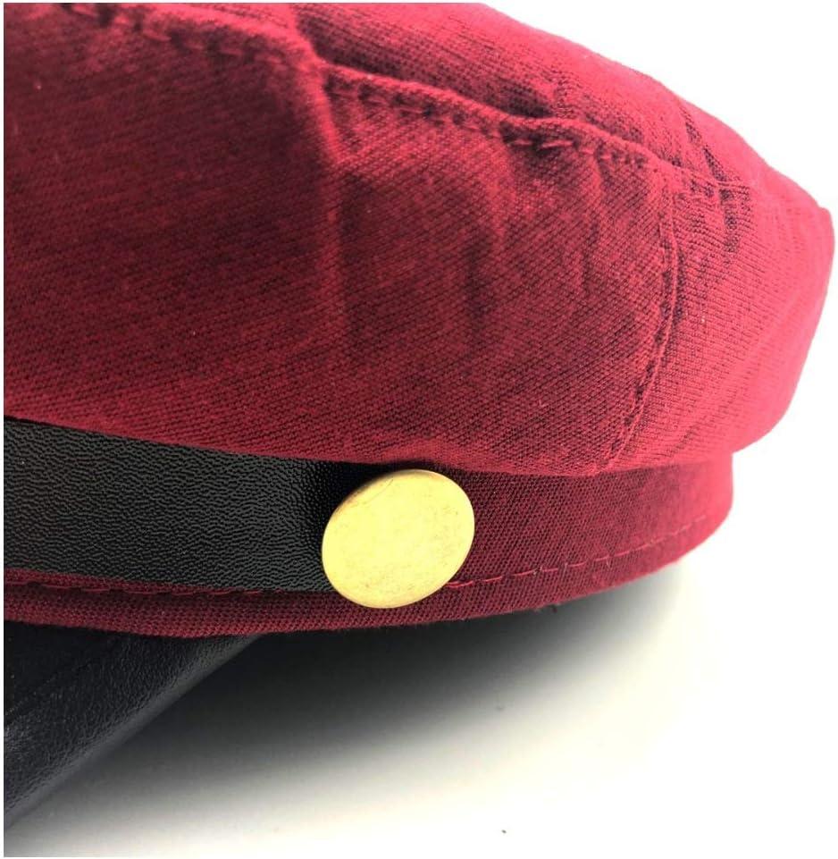 Bin Zhang 2019 Hombres Mujeres Gorra de Boina de Cuero Rojo Negro Plano Azul Marino Sombrero Moda Street Style Sombrero Gorra de peri/ódico Baker Boy Hat Color : Dark Coffee, tama/ño : 56-58CM