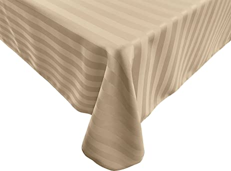 70 X 144 Inch Rectangular Tablecloth, Polystripe   ULTRA WIDE, Ivory