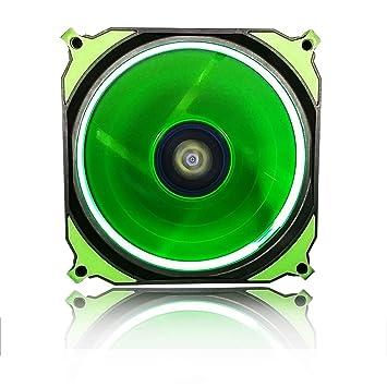 CONISY Ring Serie PC Fan 120mm LED Luz Ventiladores Silencioso para Caja de Ordenador (Verde