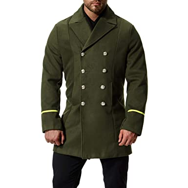 f2d8ad4993c9 AOWOFS Men's Mid Long Wool Woolen Coat Double Breasted Military Overcoat  Winter Warm Trench Coat Army
