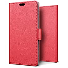 SLEO Case for Huawei NOVA 2, Luxury Wallet Flip PU Leather Protective Case Cover with Card Slot and Stand Feature for Huawei NOVA 2 - Red