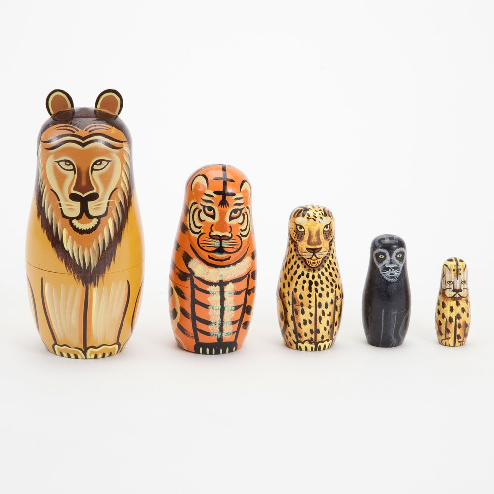 Bits and Pieces - ''Wild Cats - Matryoshka Dolls - Wooden Russian Nesting Dolls -- Jungle Cat Figurines - Stacking Doll Set of 5 by Bits and Pieces (Image #2)