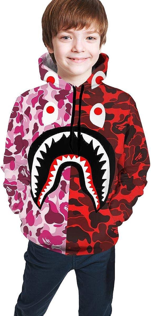 Teen Hoodie Sweatshirt Fashion 3D Print Hooded Gray Pink Bape Blood Shark for Boys Girls 7-20 Years