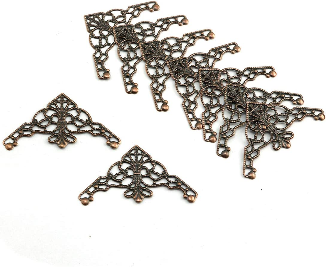 HJ Garden 30pcs Metal Filigree Triangle Connectors Vintage Style Embellishments Findings Decorative Edge Corner Protector Box Decoration Gold