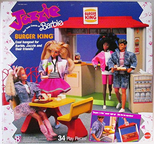 Barbie JAZZIE BURGER KING PLAYSET w 34 Play Pieces (1989)